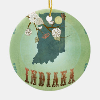Mapa moderno del estado de Indiana del vintage - Adorno Redondo De Cerámica
