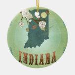 Mapa moderno del estado de Indiana del vintage - v Ornamento Para Reyes Magos