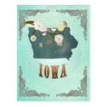 Mapa moderno del estado de Iowa del vintage - azul Tarjetas Postales