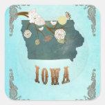 Mapa moderno del estado de Iowa del vintage - Pegatinas Cuadradases Personalizadas