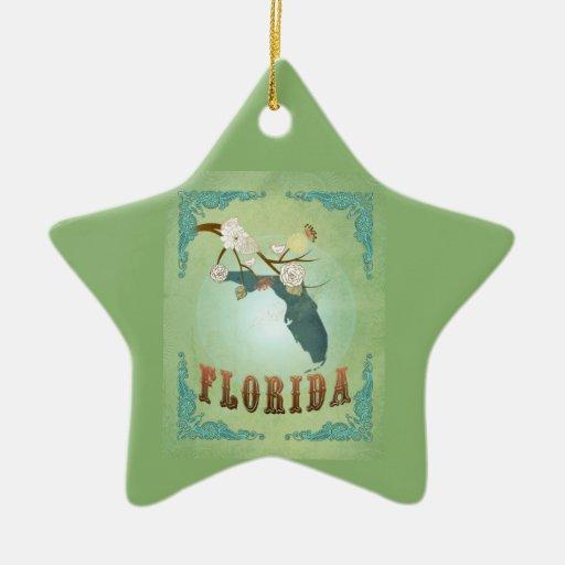 Mapa moderno del estado de la Florida del vintage Adorno De Cerámica En Forma De Estrella