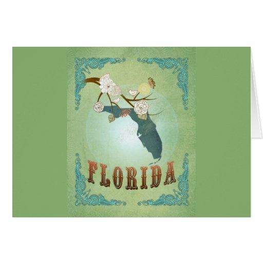Mapa moderno del estado de la Florida del vintage  Tarjeta De Felicitación