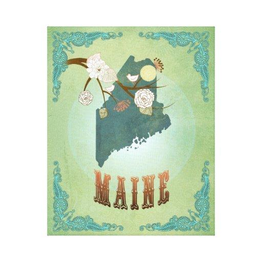 Mapa moderno del estado de Maine del vintage - ver Impresiones De Lienzo