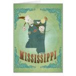 Mapa moderno del estado de Mississippi del vintage Tarjeton