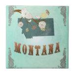 Mapa moderno del estado de Montana del vintage - a Tejas Cerámicas