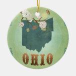 Mapa moderno del estado de Ohio del vintage - Adorno Redondo De Cerámica