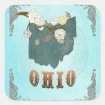 Mapa moderno del estado de Ohio del vintage - Calcomania Cuadradas Personalizada