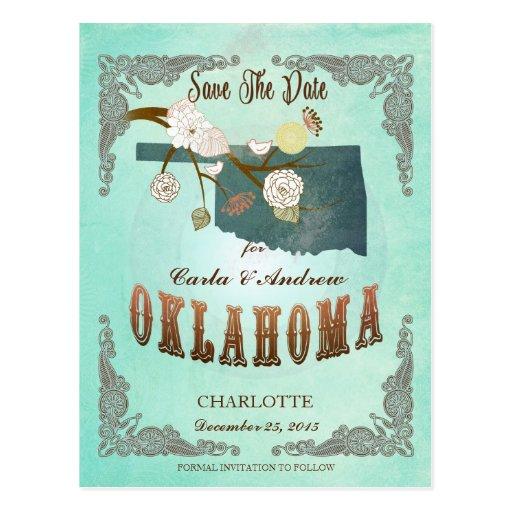 Mapa moderno del estado de Oklahoma del vintage -  Postales
