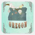 Mapa moderno del estado de Oregon del vintage - Pegatina Cuadrada