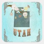 Mapa moderno del estado de Utah del vintage - Pegatinas Cuadradas Personalizadas