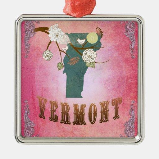 Mapa moderno del estado de Vermont del vintage - Adorno Navideño Cuadrado De Metal