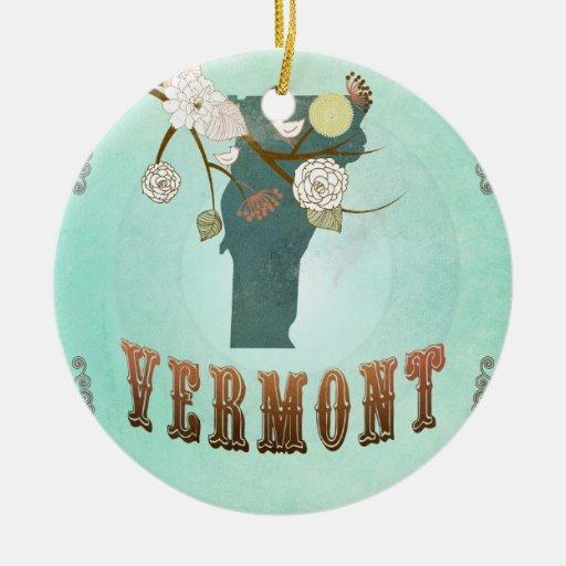 Mapa moderno del estado de Vermont del vintage - Adorno Redondo De Cerámica