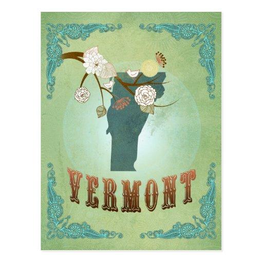 Mapa moderno del estado de Vermont del vintage - Postal