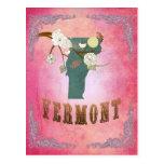 Mapa moderno del estado de Vermont del vintage - r Postales