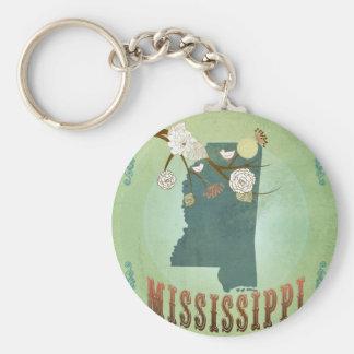 Mapa moderno del estado del vintage de Mississippi Llavero