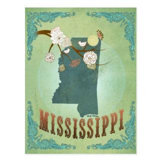 Mapa moderno del estado del vintage de Mississippi Postal