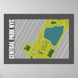 Mapa moderno New York City 20 x 28 del Central Póster