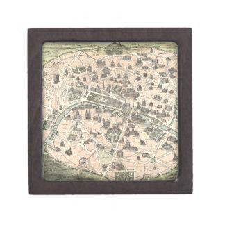Mapa monumental de Nouveau París Cajas De Recuerdo De Calidad