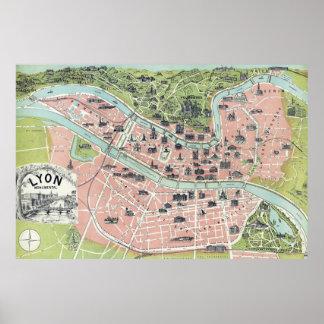 Mapa monumental Garnier Freres París 1894 de Lyon Posters
