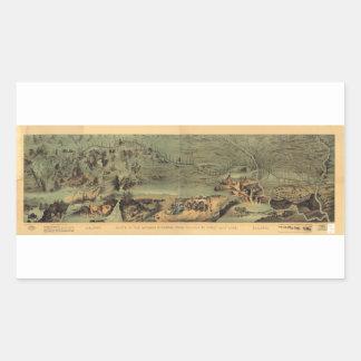 Mapa mormón Nauvoo de los pioneros a Great Salt Pegatina Rectangular