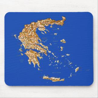 Mapa Mousepad de Grecia Tapetes De Ratón