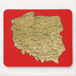 Mapa Mousepad de Polonia Alfombrillas De Ratón