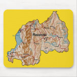 Mapa Mousepad de Rwanda Alfombrilla De Ratones