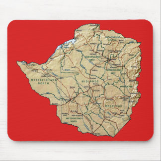 Mapa Mousepad de Zimbabwe Alfombrilla De Ratón