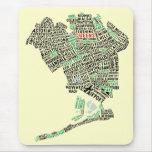 Mapa Mousepad del arte del texto del Queens NY