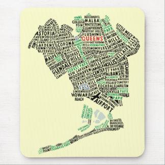 Mapa Mousepad del arte del texto del Queens NY Alfombrilla De Ratón