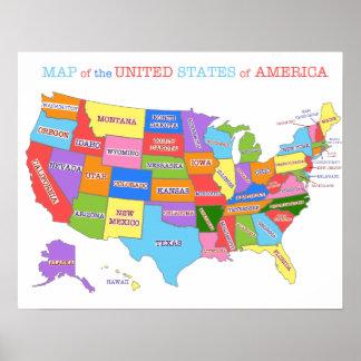 Mapa multicolor de los Estados Unidos Poster