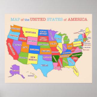 Mapa multicolor de los Estados Unidos Póster