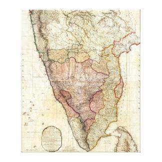 Mapa mural 1793 de Guillermo Faden de la India Impresiones En Lienzo Estiradas