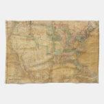 Mapa mural 1839 de David H. Burr de los Estados Un Toallas