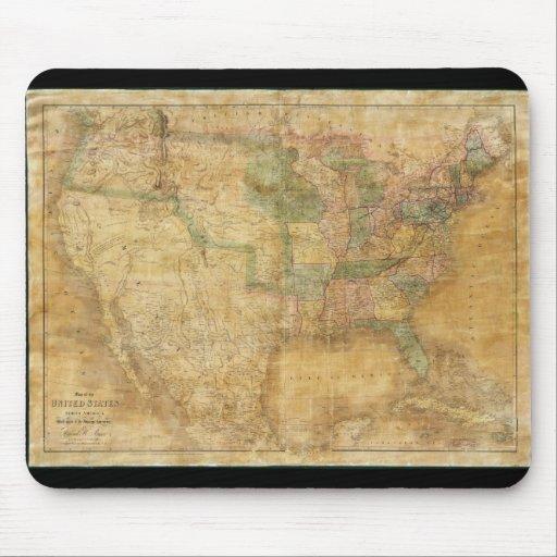 Mapa mural 1839 de David H. Burr de los Estados Un Alfombrillas De Raton