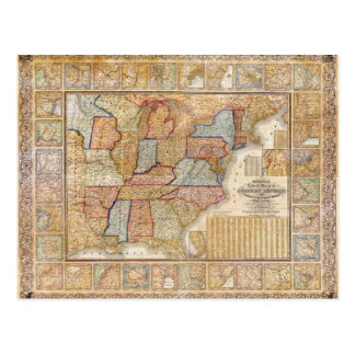 Mapa mural 1845 de Samuel Mitchell de los Estados  Tarjetas Postales
