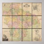 Mapa mural de Benjamin Donn de Devonshire y de Exe Posters
