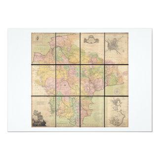 """Mapa mural de Benjamin Donn de Devonshire y de Invitación 5"""" X 7"""""""