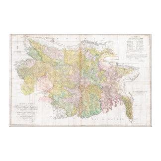 Mapa mural de Dury de Bihar y de Bengala, la India Impresion De Lienzo