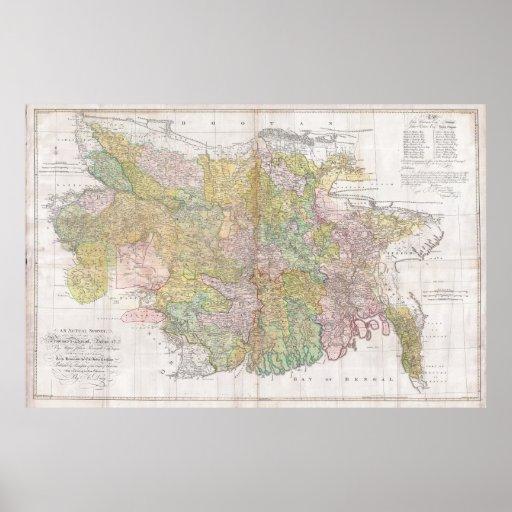 Mapa mural de Dury de Bihar y de Bengala, la India Póster