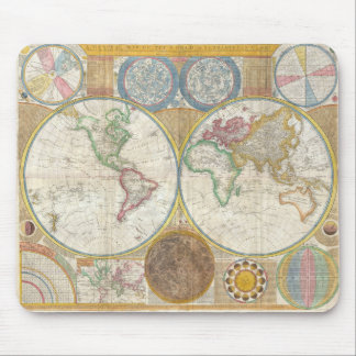 Mapa mural de Samuel Dunn del mundo en hemisferios Tapetes De Ratón