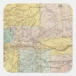 Mapa nacional del territorio de los Estados Unidos Pegatina Cuadrada