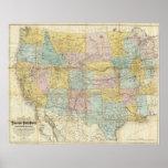 Mapa nacional del territorio de los Estados Unidos Póster