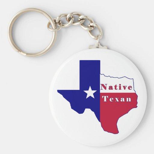Mapa nativo de la bandera del Texan Llaveros Personalizados