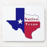 Mapa nativo de la bandera del Texan Alfombrillas De Raton