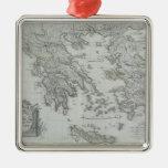 Mapa náutico adorno navideño cuadrado de metal