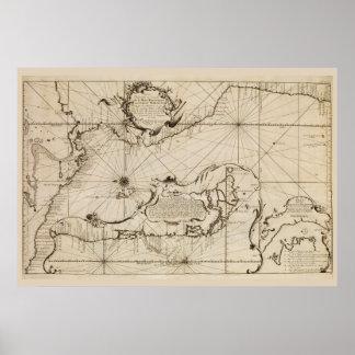 Mapa náutico antiguo del Océano Pacífico Póster