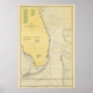 Mapa náutico de la carta del vintage de la Florida Póster