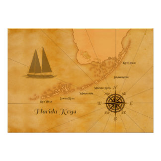 Mapa náutico de las llaves de la Florida del Póster