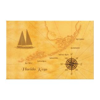 Mapa náutico de las llaves de la Florida del vinta Impresión En Lienzo